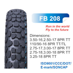 Bis Certified Motorcycle Rubber off Road Tyre 3.00-17, 350-16, 3.00-18