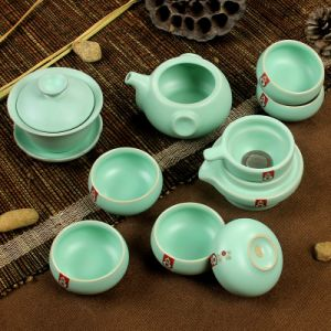 8PCS/10PCS Chinese Celadon Plum Green Glaze Tea Set (RY004)