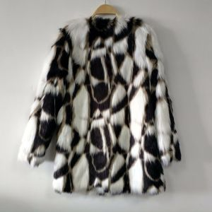 Tricolor Jacquard Weaved Faux Fur Coat Bonded with Shu Velveteen