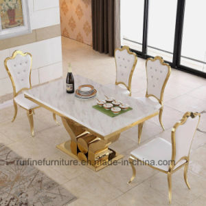 Modern Dining Room Furniture Stainless Steel Gold Marble Dining Table Sets