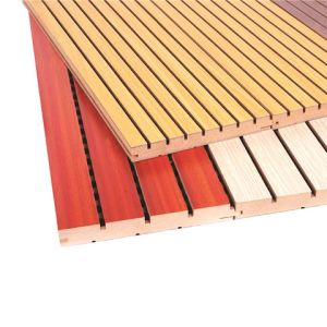 Wooden Sound Insulation Auditorium Acoustic Panel Fireproof Cheap Grooved  Wall Panels