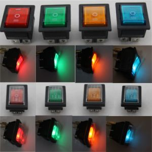 12V 24V 110V 250V Green Red Blue Yellow 6 Pin Water Proof Rocker Switch