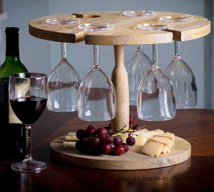 Solid Wood 6 Slot Food Fruit Wine Glass Serve Tray