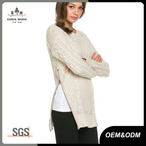Women Cable Knitwear Jumper with Side Zipper pictures & photos