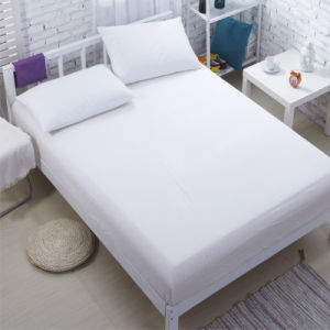 Hotel Wholesale Plain White Bed Sheet Fitted Sheet (WSFI 2016003)