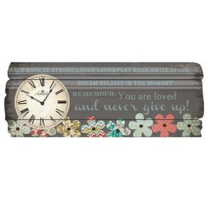 Wood Wall Plaque with Clock - Flower
