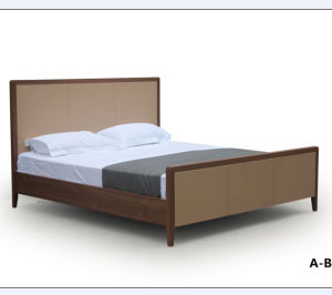 Modern Style Hotel Used Solid Wood Frame Fabric King Size Bed pictures & photos