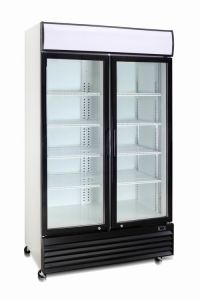 Commercial Double Glass Door Refrigerator for Beverage pictures & photos