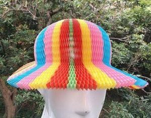 2ee6907ca2a Rainbow Color Honeycomb Paper Origami Sun Hats Folding Vase Hat Party  Favors DIY Caps