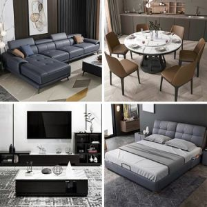 Simple Design Home Furniture Grey Leather Couches Set for Living Room