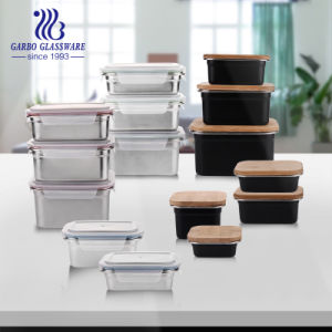 500ml 304 Black Powder Stainless Steel Bento Food Lunch Storage Container with Bamboo Lid