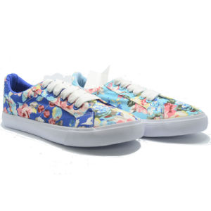 Blue Flower Canvas Leisure High Qualiy Ladies Student Women Shoes pictures & photos