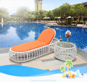 Beach Swimming Pool Outdoor Lounger Chair Wicker Rattan Sun Bed T525