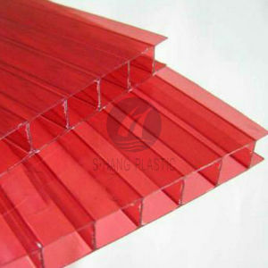 China Red Color Twin-Wall Polycarbonate Sheet for Decoration - China ...