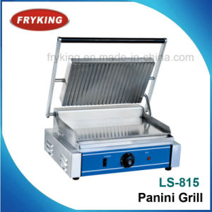 Single Plate Half Grooved Contact Panini Grill For Kitchen