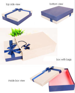 New Design Fancy Paper Gift Box with Fabric Bowknot pictures & photos
