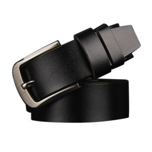 Men′s Belt Pin Buckle Belt 100% Leather Plus Large Size