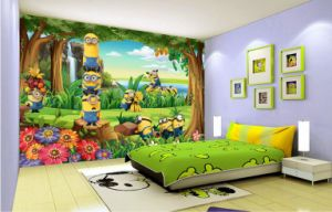 Custom Yellow People Forest Cartoon Children Room Wall Decor Wallpaper