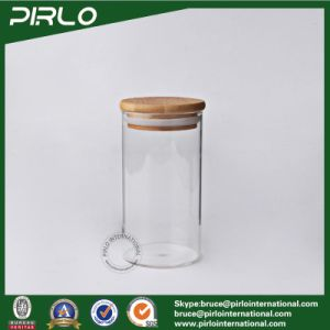 400ml Wide Mouth Borosilicate Glass Jar with Wood Lid Glass Storage Jar Dried Tea Coffee Rice Pasta Storage Jar with Bamboo Lid pictures & photos