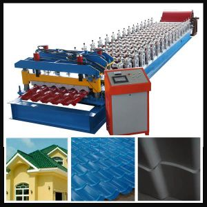 1100 Glazed Steel Roof Tile Roll Forming Making Machine pictures & photos