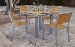 Modern European Simply Polywood Square Table 4 Stacking Chairs Outdoor Restaurant Furniture Set
