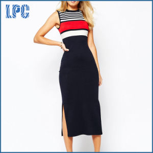 Maxi Bodycon Sexy Slim Fit Girl′s L Dress with Stripe From China pictures & photos