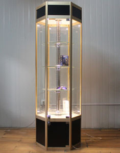 china free standing glass display cabinet with led light lock