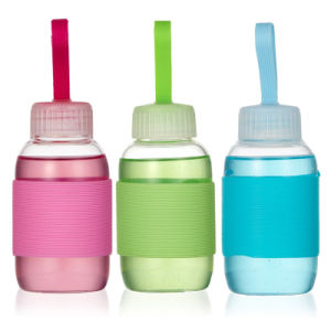 Cute 350ml Mini Glass Water Bottle with Silicone Cover