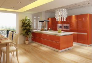 High Gloss Kitchen Cabinet With Orange Lacquer Color