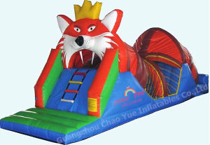 Customized Lion Theme Inflatable Slide with Inflatable Tunnel pictures & photos