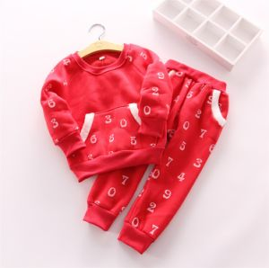 Ks1121 Kids Suit Winter Girl Fashion Suits Newest Good Quality Clothes Fleece Shirt+Pants Two-Piece for Wholesale pictures & photos