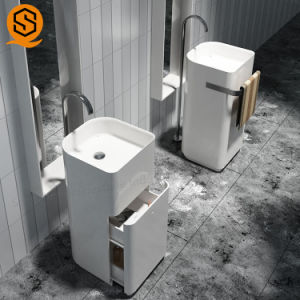 China Marble Pedestal Sink Freestanding