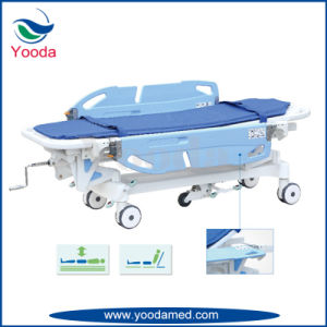 Backrest Manual Patient Emergency Cart with Aluminum Alloy Side Rail pictures & photos