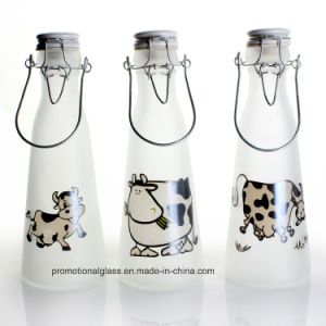 500ml Frosted Glass Milk Bottle with Clip Lid