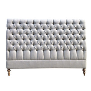 China French King Size Tufted Upholstered Bedroom Bed Headboard