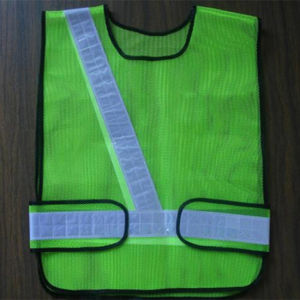 Lime Reflective Safety Mesh Vest with Lattice Tape