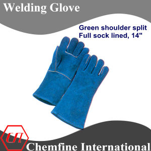 Green Shoulder Split, Full Sock Lined Leather Welding Glove pictures & photos