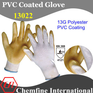 13G White Polyester Knitted Glove with Yellow PVC Smooth Coating/ En388: 4121 pictures & photos