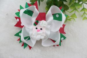 Christmas Decoration Hair Bows with Santa Claus in The Centre