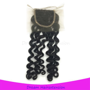 Italian Curly Brazilian Hair Free Part Lace Closure 12inch pictures & photos