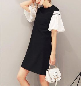Summer Pretty Stitching Black and White Sleeves Women′s Dress pictures & photos