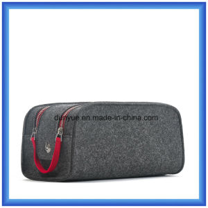 Fashion Design Wool Felt Portable Storage Handbag, Customized Promotion Gift Pouch / Cosmetic Bag with Double Zipper (wool content is 70%)