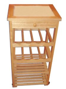 Wooden Kitchenware Rack with Drawer and Wheels