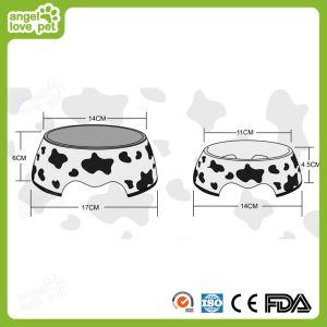 Cow Print Detachable Mealine Cover with Stainless steel Dog Bowl pictures & photos