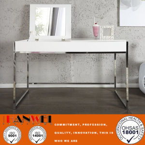 Mirror Dressing Make Up Vanity Table With White Top And Chromed Foot