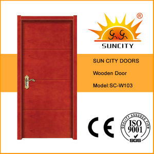 Popular Flat Teak Solid Painted Coloured Wooden MDF Door (SC-W103) pictures & photos