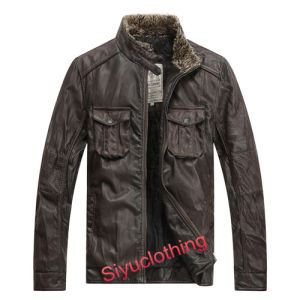 Men Brown Leather Casual Clothing Jacket with Competitive Price (J-1613) pictures & photos