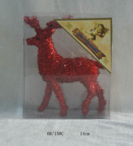 Crimson Foam Tinsel Deco. Christmas Deer Hanging Ornament