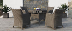 Wicker Garden Outdoor Furniture Square Rattan Dining Chair Set