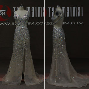 Sparkly Rhinestones Organza Backless Long Prom Dresses (TM-PD206)